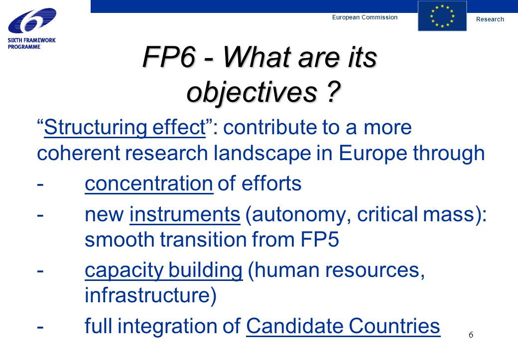 """European Commission Research 6 FP6 - What are its objectives ? """"Structuring effect"""": contribute to a more coherent research landscape in Europe throug"""