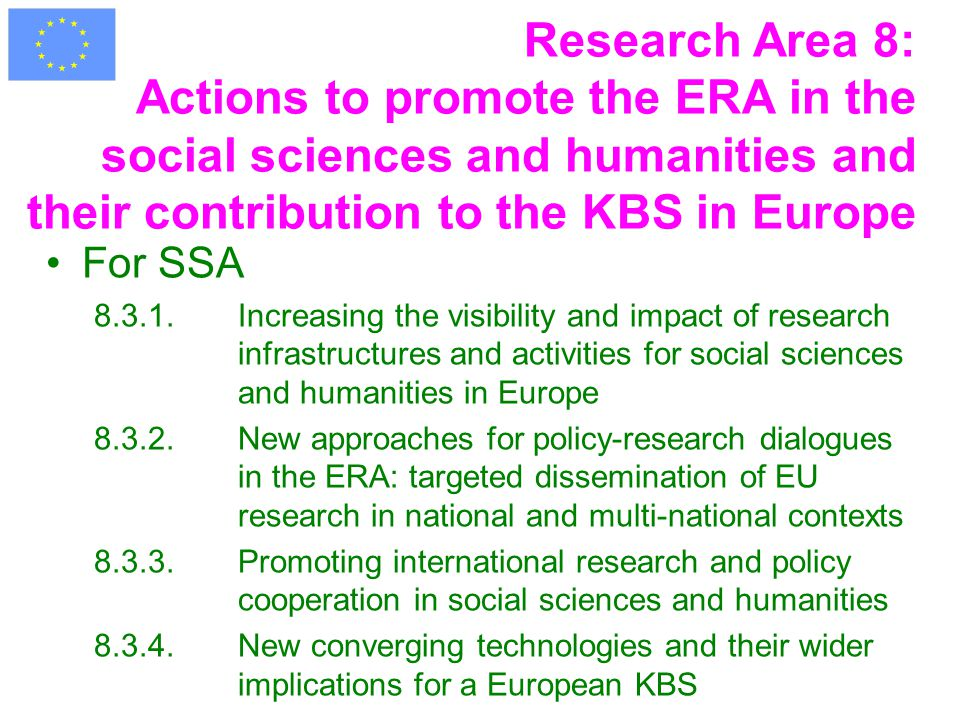 Research Area 8: Actions to promote the ERA in the social sciences and humanities and their contribution to the KBS in Europe For SSA 8.3.1.Increasing the visibility and impact of research infrastructures and activities for social sciences and humanities in Europe 8.3.2.New approaches for policy-research dialogues in the ERA: targeted dissemination of EU research in national and multi-national contexts 8.3.3.Promoting international research and policy cooperation in social sciences and humanities 8.3.4.New converging technologies and their wider implications for a European KBS