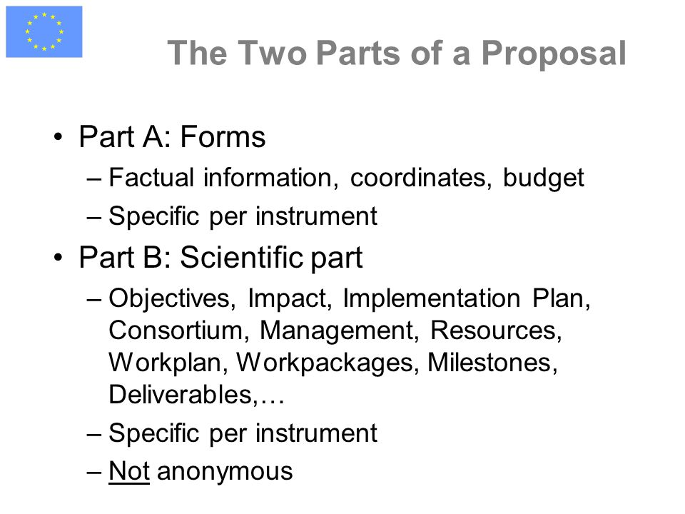 The Two Parts of a Proposal Part A: Forms –Factual information, coordinates, budget –Specific per instrument Part B: Scientific part –Objectives, Impact, Implementation Plan, Consortium, Management, Resources, Workplan, Workpackages, Milestones, Deliverables,… –Specific per instrument –Not anonymous