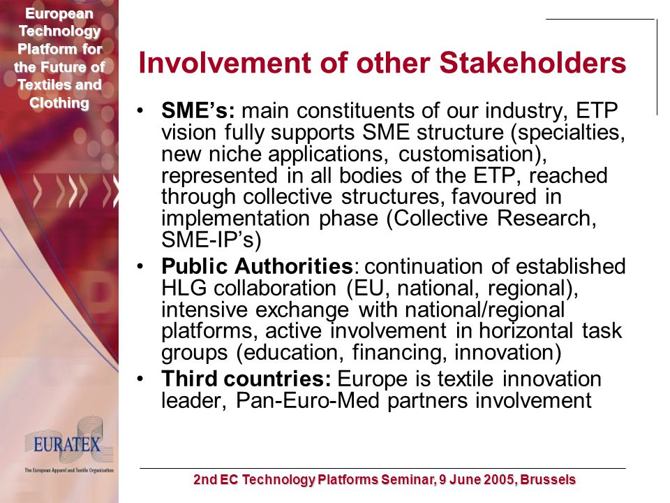 European Technology Platform for the Future of Textiles and Clothing 2nd EC Technology Platforms Seminar, 9 June 2005, Brussels Involvement of other S