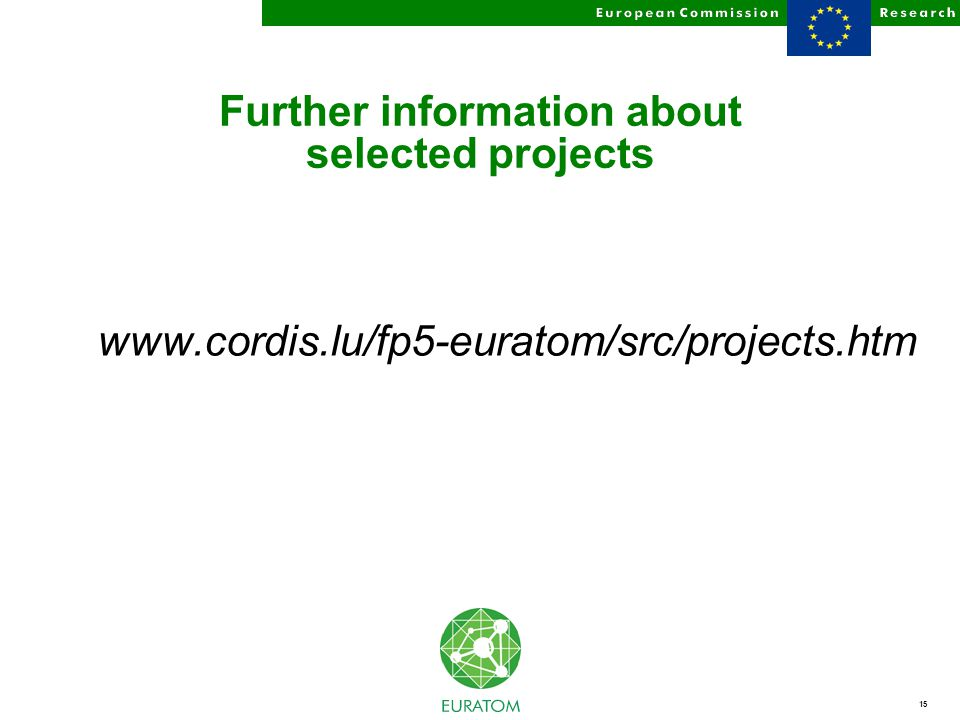 15 Further information about selected projects www.cordis.lu/fp5-euratom/src/projects.htm