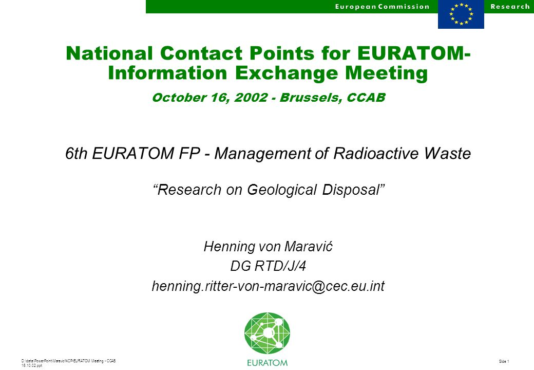D:\data\PowerPoint\Maravic\NCP-EURATOM Meeting - CCAB 16.10.02.ppt Slide 1 National Contact Points for EURATOM- Information Exchange Meeting October 1
