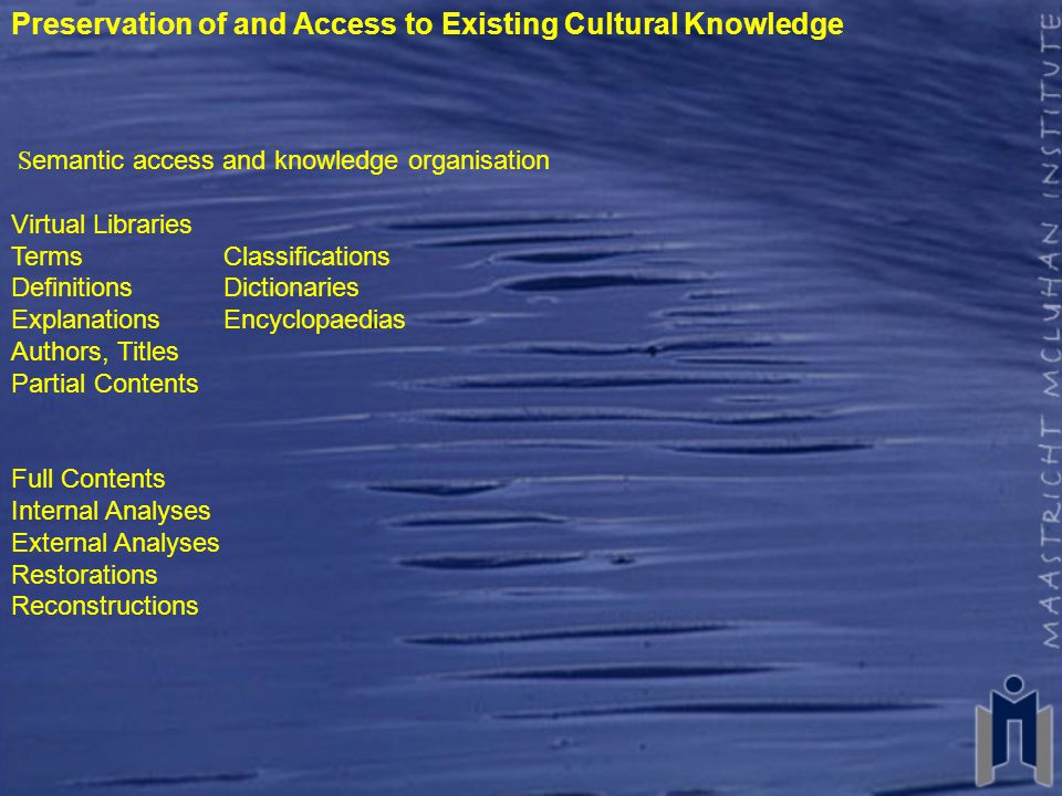 Preservation of and Access to Existing Cultural Knowledge S emantic access and knowledge organisation Virtual Libraries TermsClassifications DefinitionsDictionaries ExplanationsEncyclopaedias Authors, Titles Partial Contents Full Contents Internal Analyses External Analyses Restorations Reconstructions