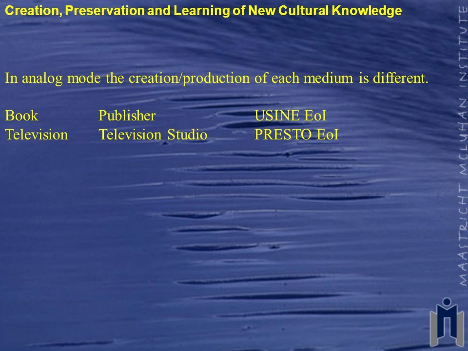 Creation, Preservation and Learning of New Cultural Knowledge In analog mode the creation/production of each medium is different.