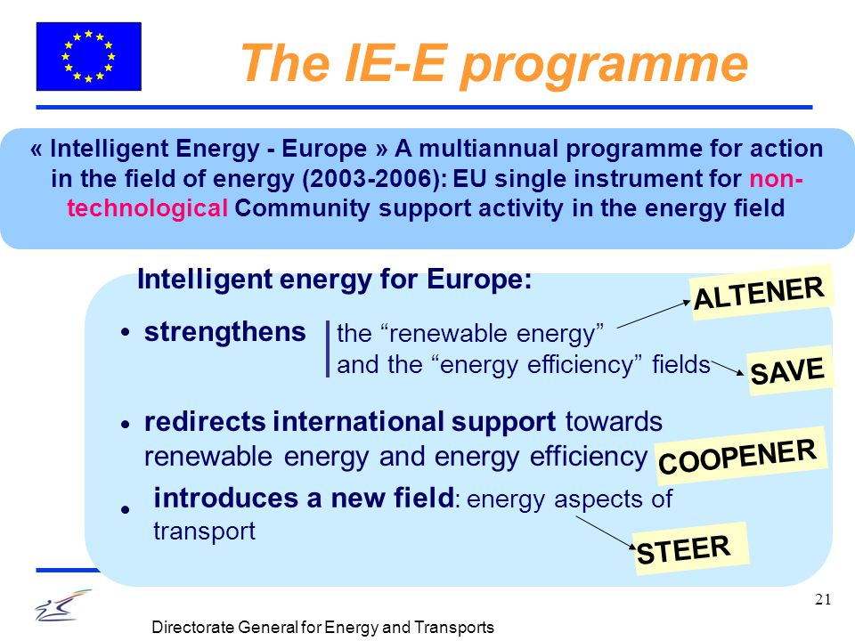 21 Directorate General for Energy and Transports The IE-E programme « Intelligent Energy - Europe » A multiannual programme for action in the field of energy (2003-2006): EU single instrument for non- technological Community support activity in the energy field Intelligent energy for Europe: the renewable energy and the energy efficiency fields redirects international support towards renewable energy and energy efficiency introduces a new field : energy aspects of transport strengthens SAVE ALTENER STEER COOPENER