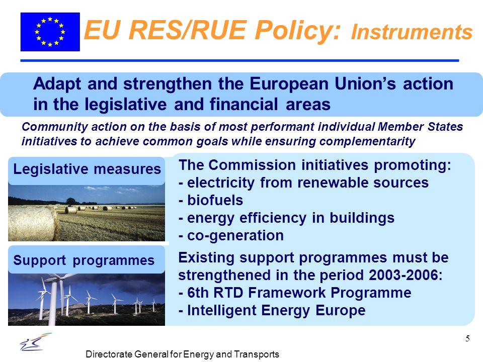 6 Directorate General for Energy and Transports Legislative measures