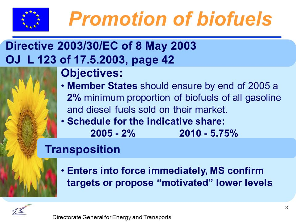 8 Directorate General for Energy and Transports Promotion of biofuels Directive 2003/30/EC of 8 May 2003 OJ L 123 of 17.5.2003, page 42 Objectives: Member States should ensure by end of 2005 a 2% minimum proportion of biofuels of all gasoline and diesel fuels sold on their market.