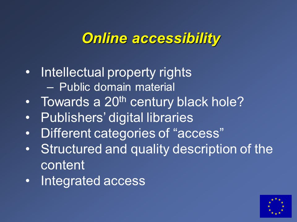 Intellectual property rights – Public domain material Towards a 20 th century black hole.