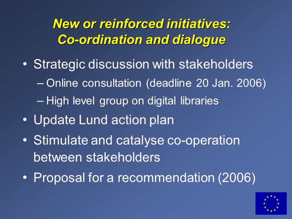 New or reinforced initiatives: Co-ordination and dialogue Strategic discussion with stakeholders – Online consultation (deadline 20 Jan.
