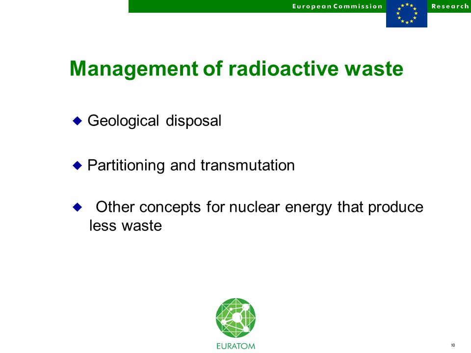 10 Management of radioactive waste u Geological disposal u Partitioning and transmutation u Other concepts for nuclear energy that produce less waste