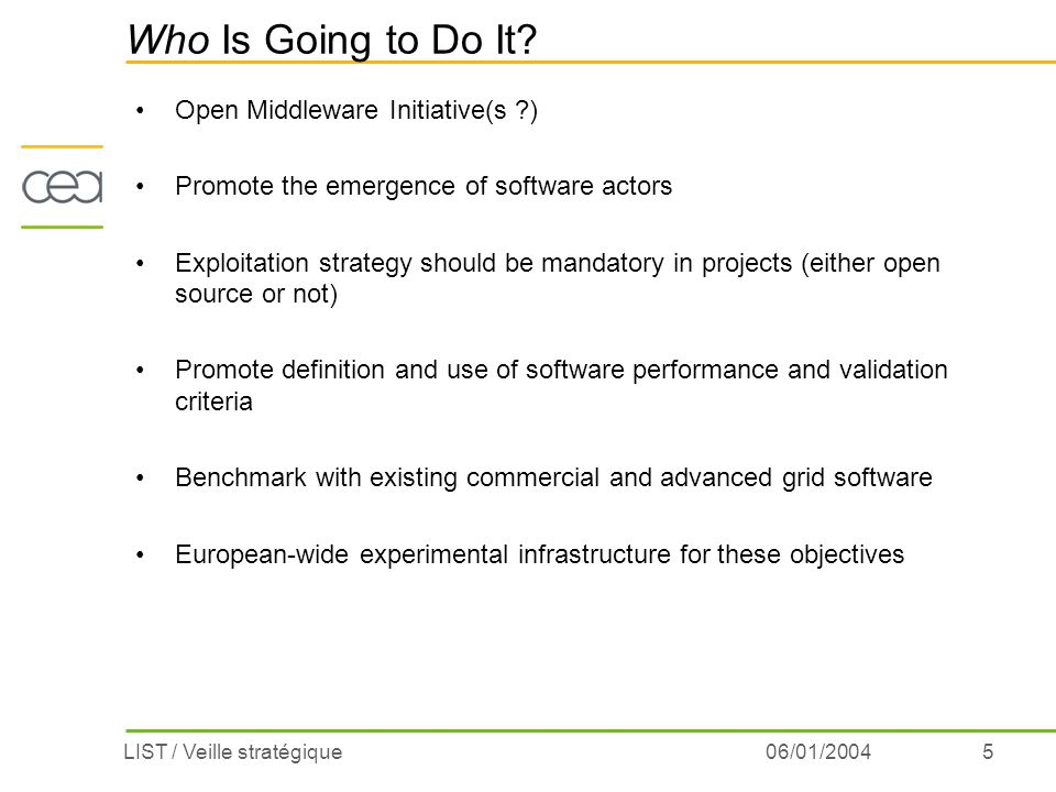 5LIST / Veille stratégique06/01/2004 Who Is Going to Do It? Open Middleware Initiative(s ?) Promote the emergence of software actors Exploitation stra