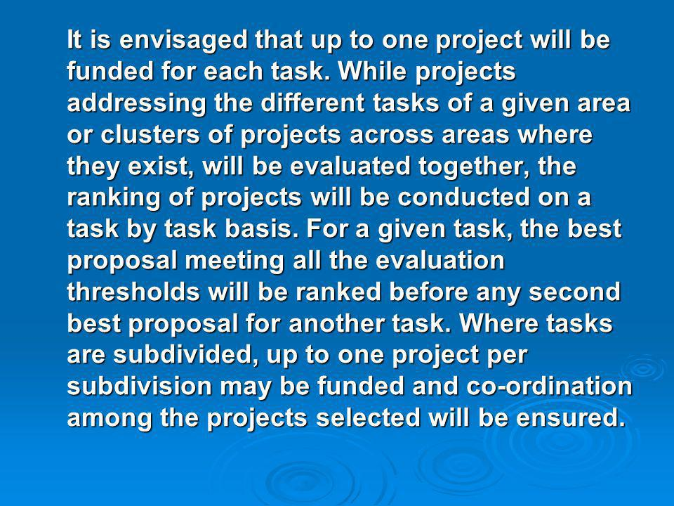 It is envisaged that up to one project will be funded for each task.