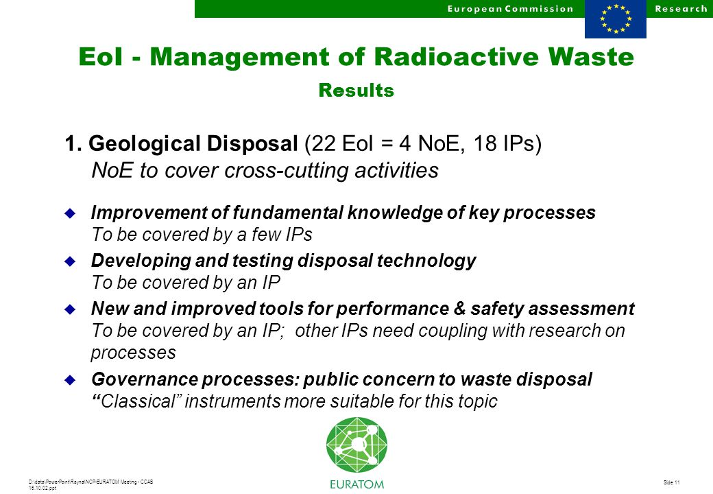 D:\data\PowerPoint\Raynal\NCP-EURATOM Meeting - CCAB 16.10.02.ppt Slide 11 EoI - Management of Radioactive Waste Results 1.
