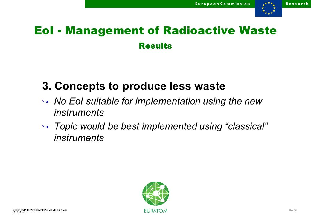 D:\data\PowerPoint\Raynal\NCP-EURATOM Meeting - CCAB 16.10.02.ppt Slide 13 EoI - Management of Radioactive Waste Results 3. Concepts to produce less w