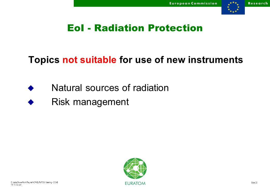 D:\data\PowerPoint\Raynal\NCP-EURATOM Meeting - CCAB 16.10.02.ppt Slide 20 EoI - Radiation Protection Topics not suitable for use of new instruments u