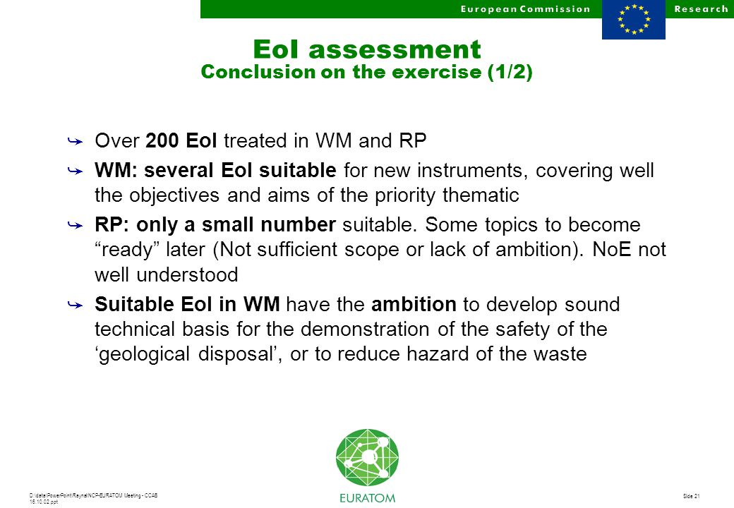 D:\data\PowerPoint\Raynal\NCP-EURATOM Meeting - CCAB 16.10.02.ppt Slide 21 EoI assessment Conclusion on the exercise (1/2) å Over 200 EoI treated in W
