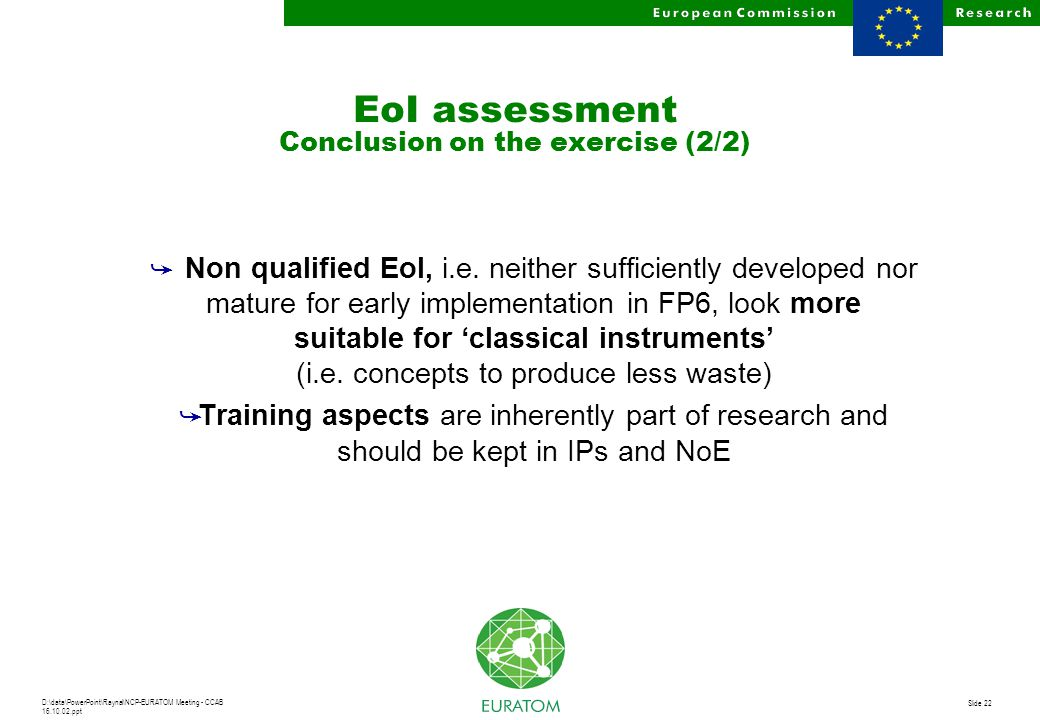 D:\data\PowerPoint\Raynal\NCP-EURATOM Meeting - CCAB 16.10.02.ppt Slide 22 å Non qualified EoI, i.e. neither sufficiently developed nor mature for ear