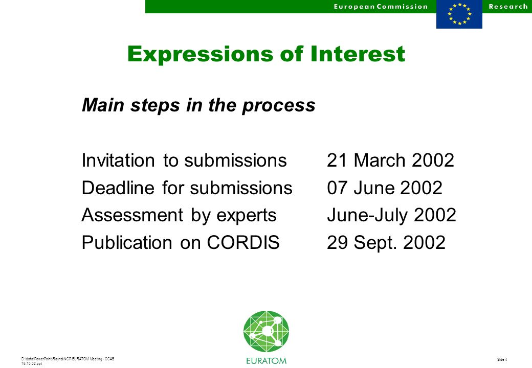 D:\data\PowerPoint\Raynal\NCP-EURATOM Meeting - CCAB 16.10.02.ppt Slide 4 Expressions of Interest Main steps in the process Invitation to submissions21 March 2002 Deadline for submissions 07 June 2002 Assessment by expertsJune-July 2002 Publication on CORDIS29 Sept.