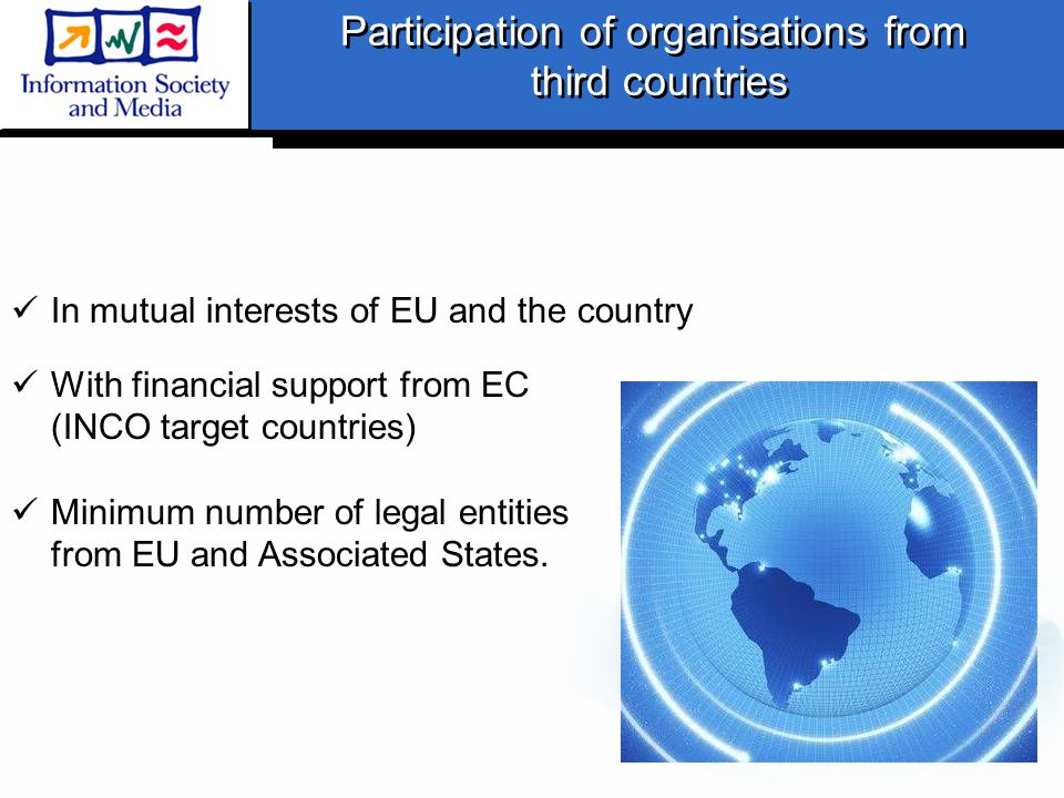 Participation of organisations from third countries Participation of organisations from third countries In mutual interests of EU and the country With financial support from EC (INCO target countries) Minimum number of legal entities from EU and Associated States.