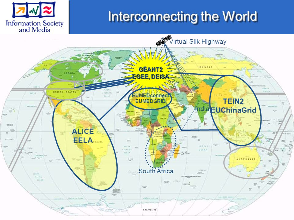 Interconnecting the World Operational or contract signed Request to interconnect received South Africa Virtual Silk Highway India ALICE EELA GÉANT2 EGEE, DEISA EUMEDconnect EUMEDGRID TEIN2 EUChinaGrid