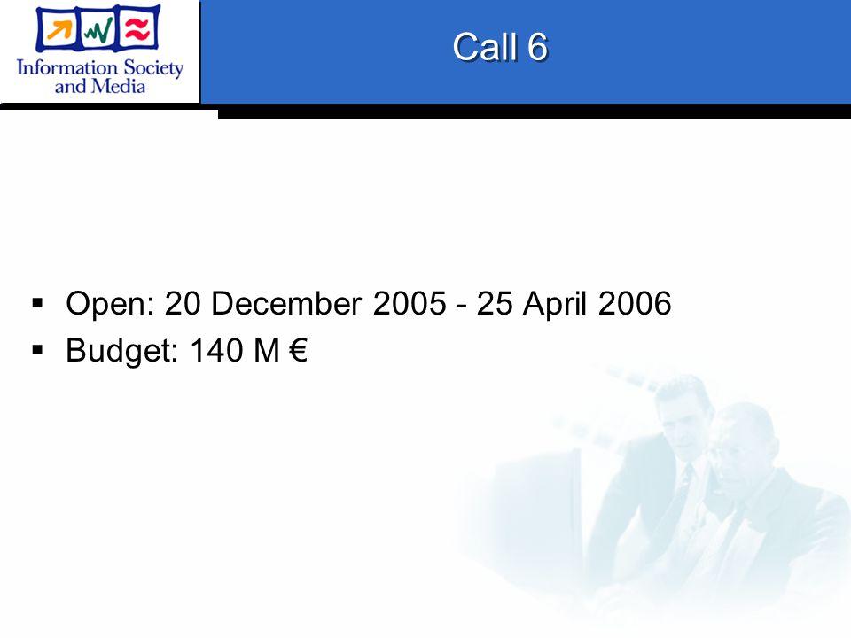 Call 6  Open: 20 December 2005 - 25 April 2006  Budget: 140 M €