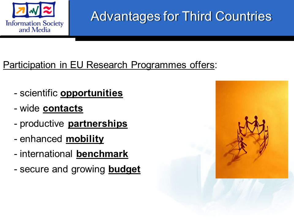 Advantages for Third Countries Participation in EU Research Programmes offers: - scientific opportunities - wide contacts - productive partnerships - enhanced mobility - international benchmark - secure and growing budget