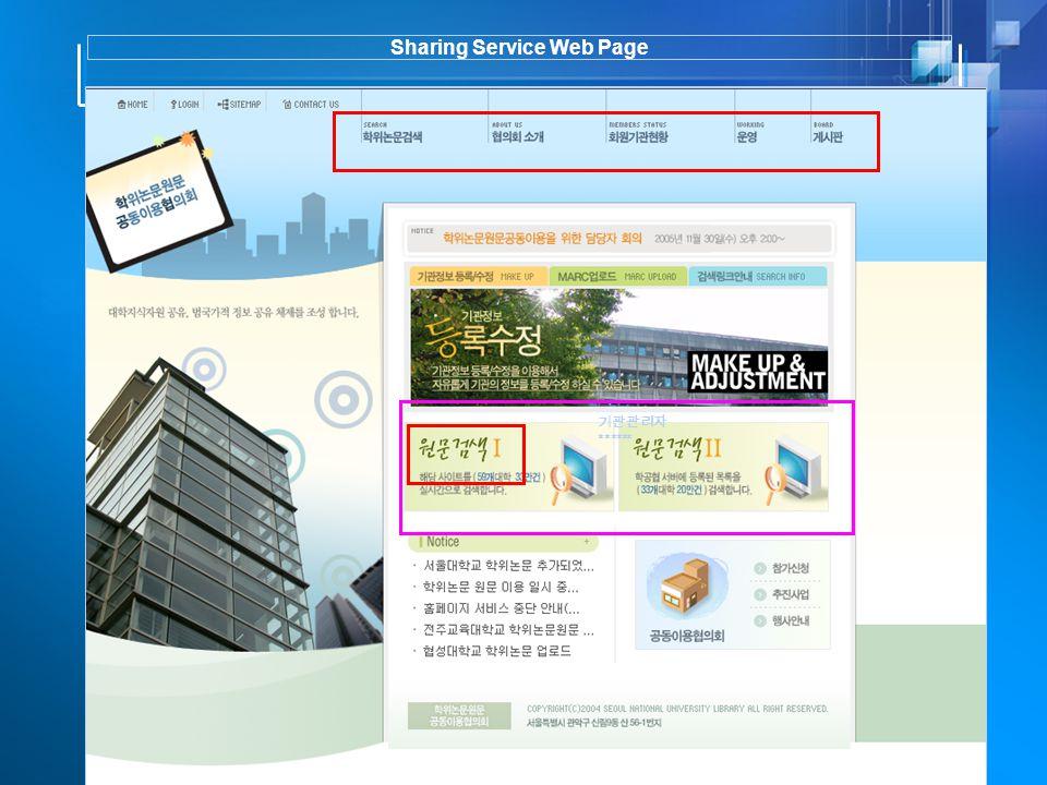 Sharing Service Web Page 기관관리자 ******