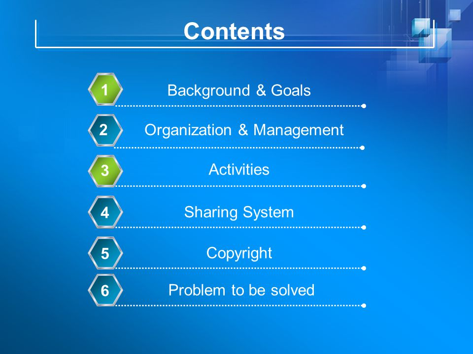 Contents Background & Goals 1 Organization & Management2 Activities 3 Copyright 5 Sharing System 4 Problem to be solved 6
