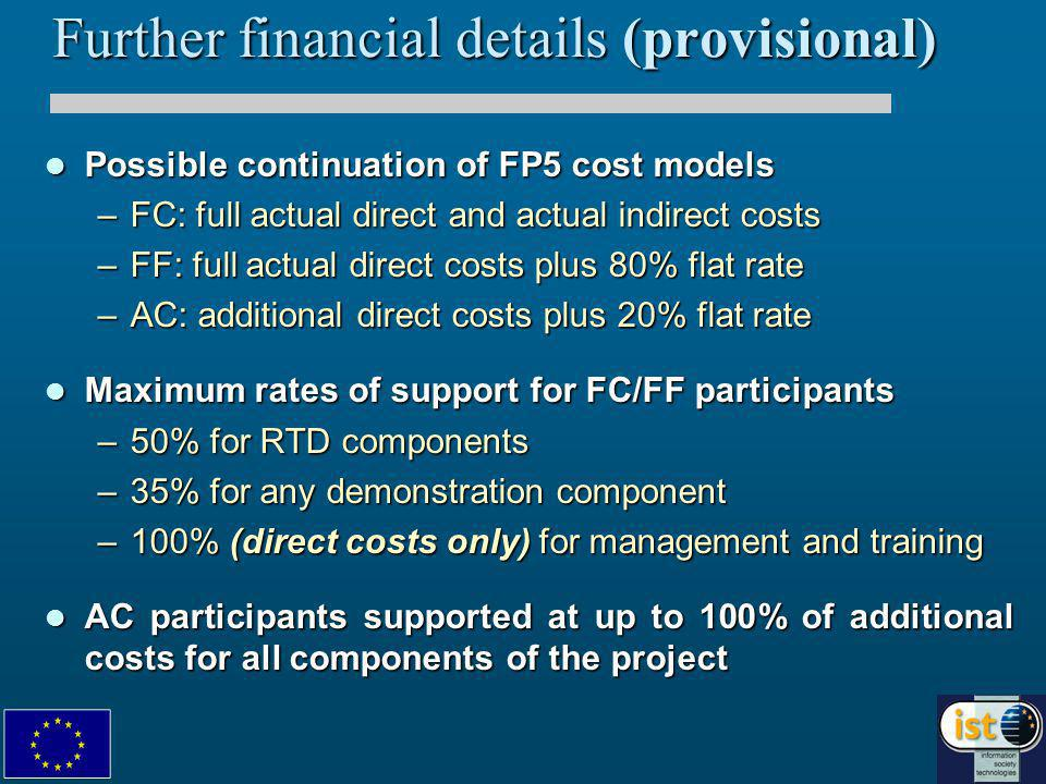 Financial regime (2) Annually, each participant to provide a summary financial statement Annually, each participant to provide a summary financial statement –certified by an independent auditor –with a justification of costs coupled to corresponding activity reportcoupled to corresponding activity report Rolling advance scheme throughout duration of IP Rolling advance scheme throughout duration of IP Reduced retentionReduced retention