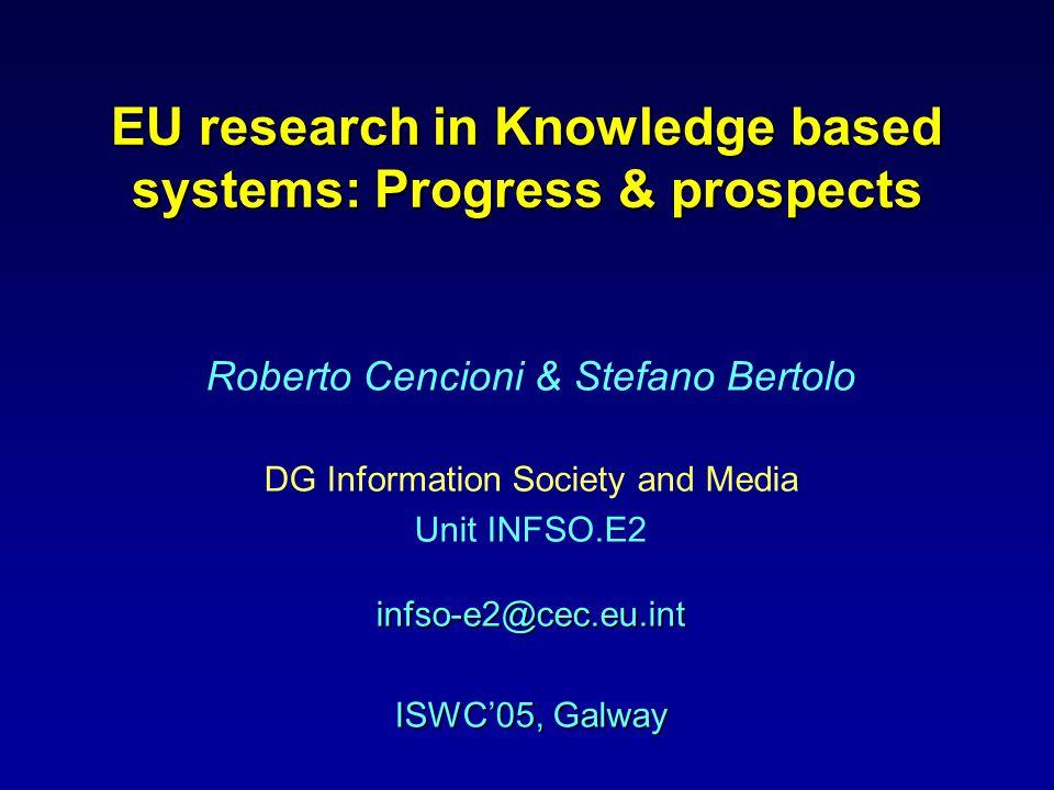 EU research in Knowledge based systems: Progress & prospects Roberto Cencioni & Stefano Bertolo DG Information Society and Media infso-e2@cec.eu.int Unit INFSO.E2 infso-e2@cec.eu.int ISWC'05, Galway