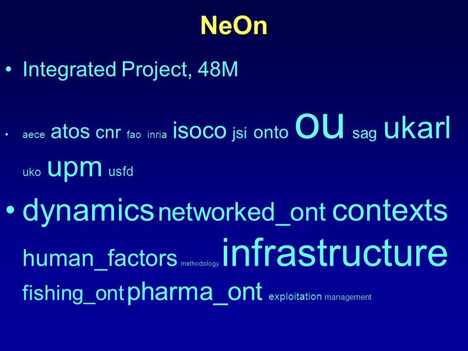 NeOn Integrated Project, 48M aece atos cnr fao inria isoco jsi onto ou sag ukarl uko upm usfd dynamics networked_ont contexts human_factors methodology infrastructure fishing_ont pharma_ont exploitation management