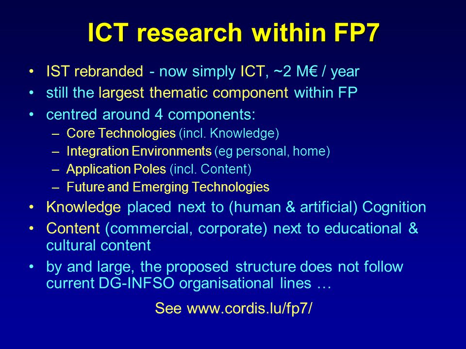 IST rebranded - now simply ICT, ~2 M€ / year still the largest thematic component within FP centred around 4 components: –Core Technologies (incl.