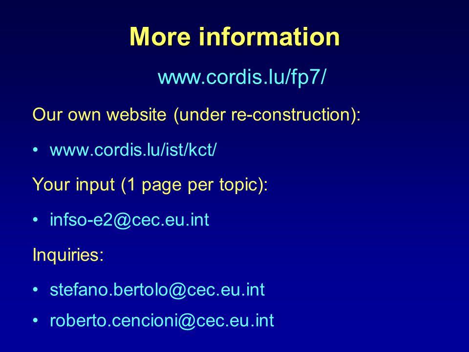 More information www.cordis.lu/fp7/ Our own website (under re-construction): www.cordis.lu/ist/kct/ Your input (1 page per topic): infso-e2@cec.eu.int Inquiries: stefano.bertolo@cec.eu.int roberto.cencioni@cec.eu.int