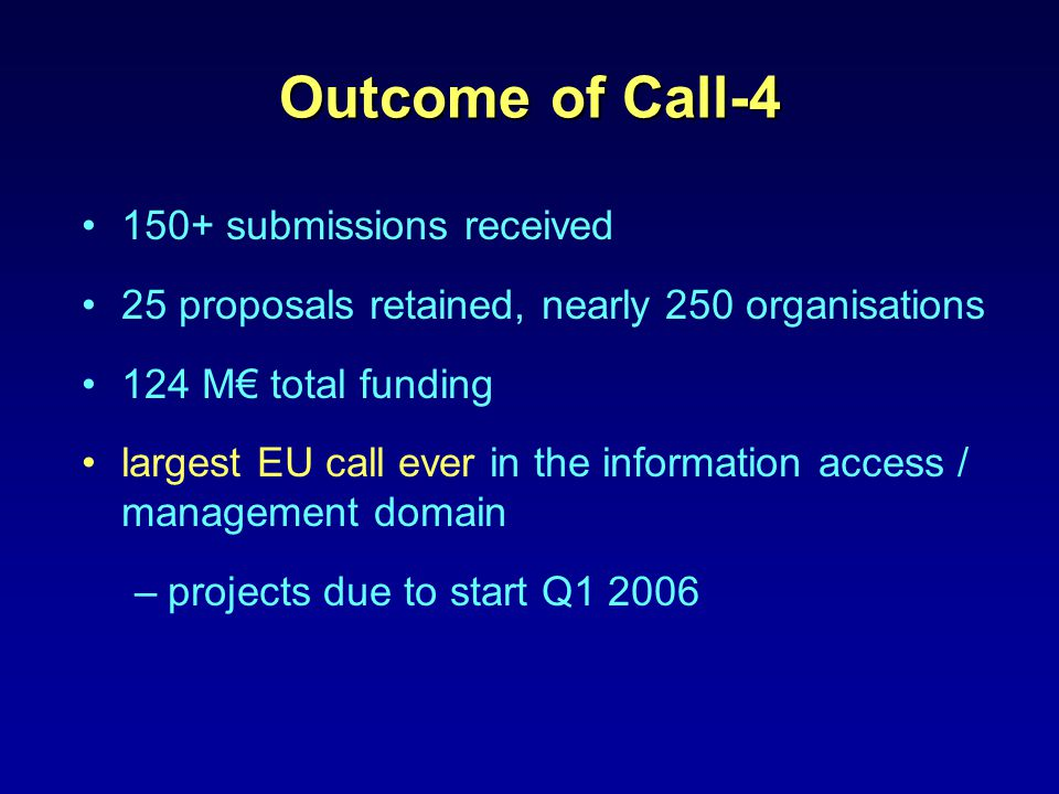 Outcome of Call-4 150+ submissions received 25 proposals retained, nearly 250 organisations 124 M€ total funding largest EU call ever in the information access / management domain –projects due to start Q1 2006