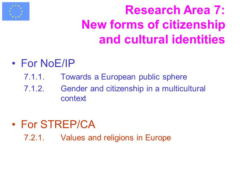 Research Area 7: New forms of citizenship and cultural identities For NoE/IP 7.1.1.Towards a European public sphere 7.1.2.Gender and citizenship in a multicultural context For STREP/CA 7.2.1.Values and religions in Europe