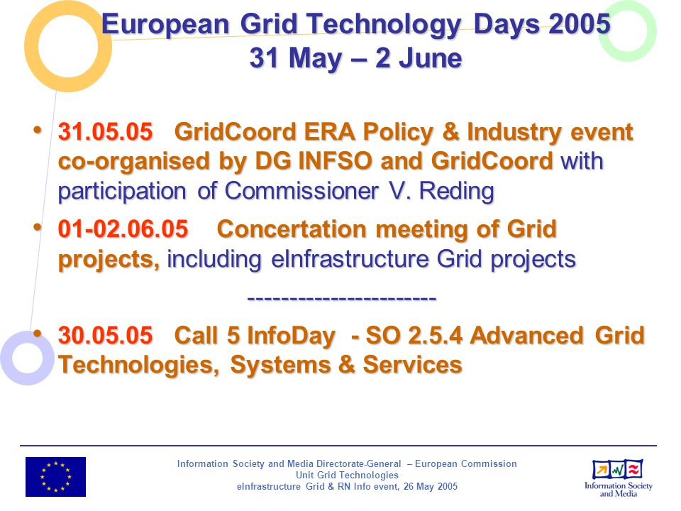 Information Society and Media Directorate-General – European Commission Unit Grid Technologies eInfrastructure Grid & RN Info event, 26 May 2005 Europ