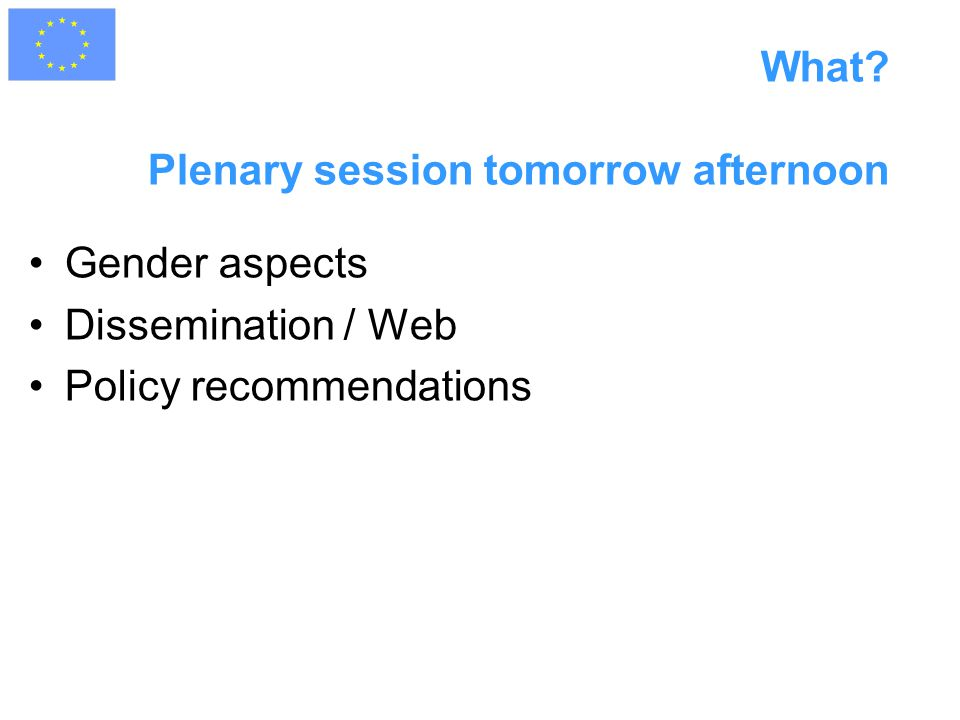 What? Plenary session tomorrow afternoon Gender aspects Dissemination / Web Policy recommendations