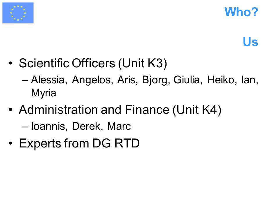 Who? Us Scientific Officers (Unit K3) –Alessia, Angelos, Aris, Bjorg, Giulia, Heiko, Ian, Myria Administration and Finance (Unit K4) –Ioannis, Derek,