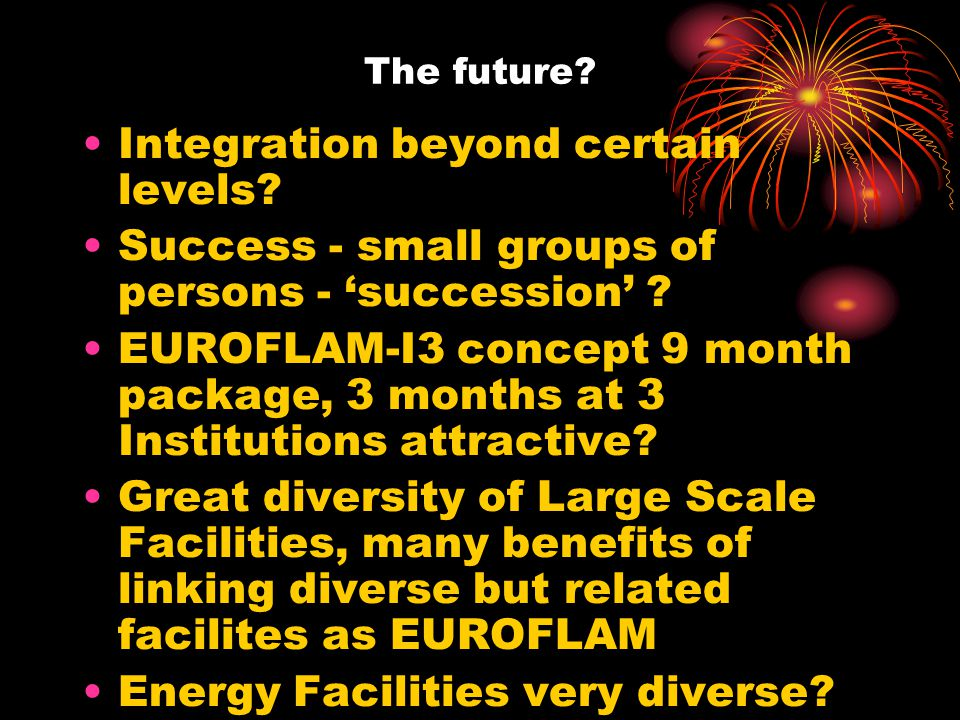 The future. Integration beyond certain levels. Success - small groups of persons - 'succession' .