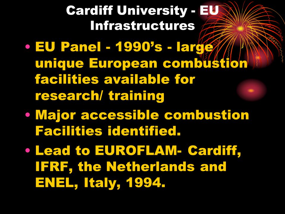 Cardiff University - EU Infrastructures EU Panel - 1990's - large unique European combustion facilities available for research/ training Major accessible combustion Facilities identified.