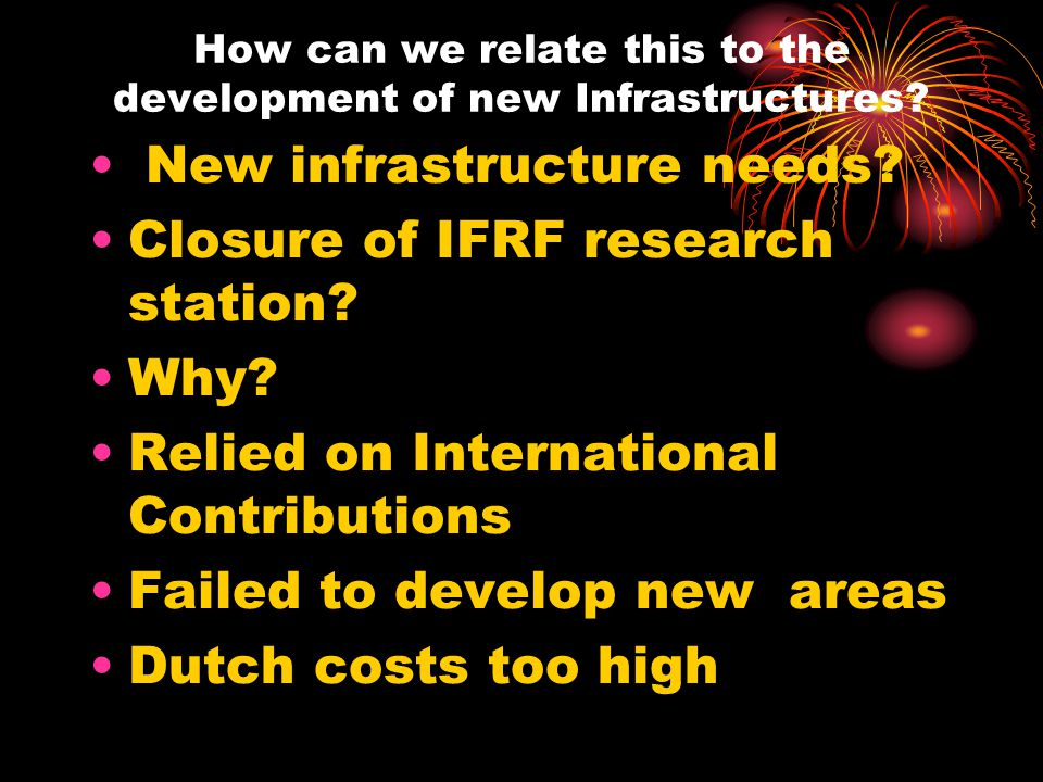 How can we relate this to the development of new Infrastructures.