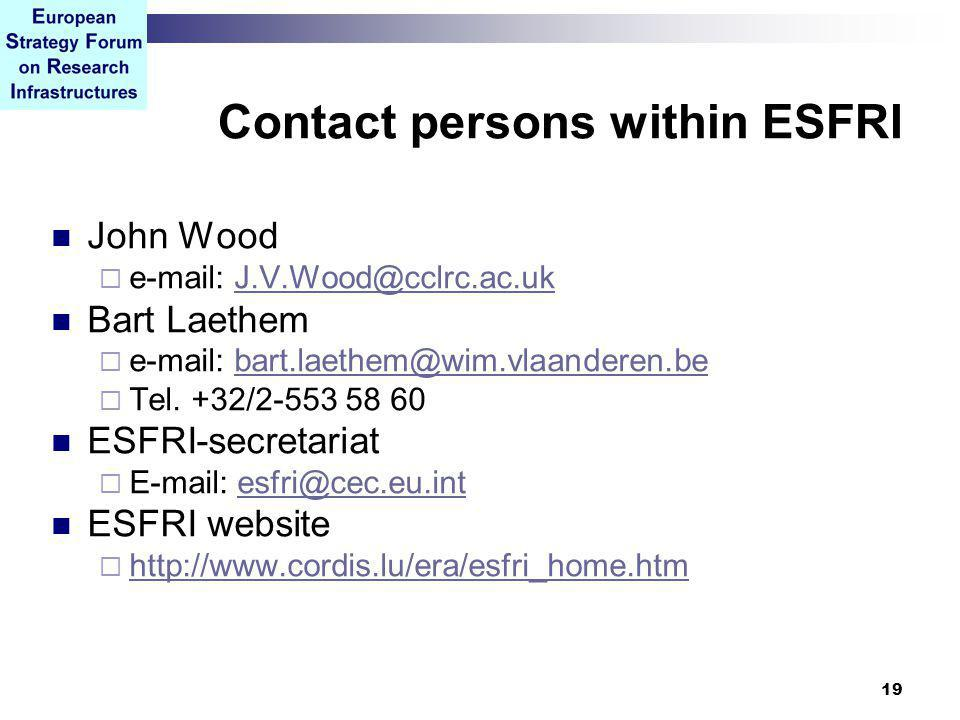19 Contact persons within ESFRI John Wood  e-mail: J.V.Wood@cclrc.ac.ukJ.V.Wood@cclrc.ac.uk Bart Laethem  e-mail: bart.laethem@wim.vlaanderen.bebart.laethem@wim.vlaanderen.be  Tel.