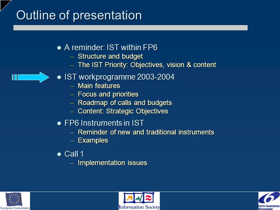 Outline of presentation A reminder: IST within FP6 A reminder: IST within FP6 – Structure and budget – The IST Priority: Objectives, vision & content IST workprogramme 2003-2004 IST workprogramme 2003-2004 – Main features – Focus and priorities – Roadmap of calls and budgets – Content: Strategic Objectives FP6 Instruments in IST FP6 Instruments in IST – Reminder of new and traditional instruments – Examples Call 1 Call 1 – Implementation issues