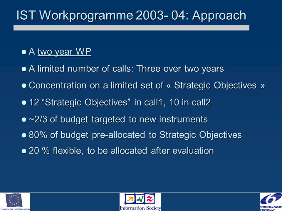 IST Workprogramme 2003- 04: Approach A two year WP A two year WP A limited number of calls: Three over two years A limited number of calls: Three over two years Concentration on a limited set of « Strategic Objectives » Concentration on a limited set of « Strategic Objectives » 12 Strategic Objectives in call1, 10 in call2 12 Strategic Objectives in call1, 10 in call2 ~2/3 of budget targeted to new instruments ~2/3 of budget targeted to new instruments 80% of budget pre-allocated to Strategic Objectives 80% of budget pre-allocated to Strategic Objectives 20 % flexible, to be allocated after evaluation 20 % flexible, to be allocated after evaluation