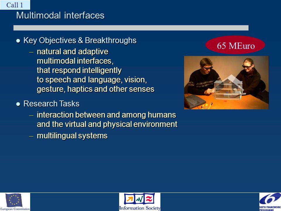 Multimodal interfaces Key Objectives & Breakthroughs Key Objectives & Breakthroughs – natural and adaptive multimodal interfaces, that respond intelli