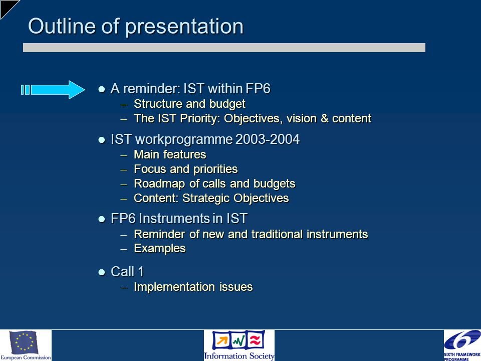 Outline of presentation A reminder: IST within FP6 A reminder: IST within FP6 – Structure and budget – The IST Priority: Objectives, vision & content