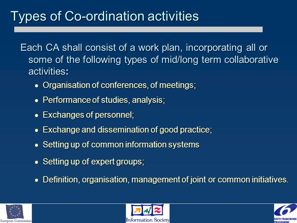 Each CA shall consist of a work plan, incorporating all or some of the following types of mid/long term collaborative activities:  Organisation of co