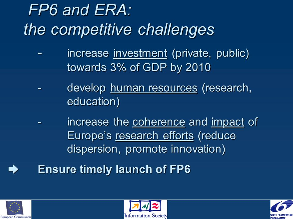 FP6 and ERA: the competitive challenges FP6 and ERA: the competitive challenges - increase investment (private, public) towards 3% of GDP by 2010 -develop human resources (research, education) -increase the coherence and impact of Europe's research efforts (reduce dispersion, promote innovation)  Ensure timely launch of FP6