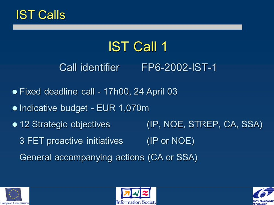 IST Call 1 Call identifierFP6-2002-IST-1 Fixed deadline call - 17h00, 24 April 03 Fixed deadline call - 17h00, 24 April 03 Indicative budget - EUR 1,070m Indicative budget - EUR 1,070m 12 Strategic objectives (IP, NOE, STREP, CA, SSA) 12 Strategic objectives (IP, NOE, STREP, CA, SSA) 3 FET proactive initiatives (IP or NOE) 3 FET proactive initiatives (IP or NOE) General accompanying actions (CA or SSA) IST Calls