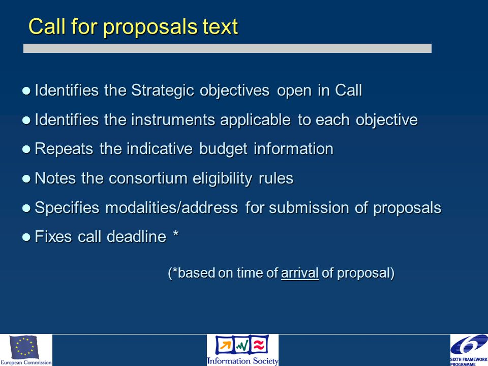Identifies the Strategic objectives open in Call Identifies the Strategic objectives open in Call Identifies the instruments applicable to each object